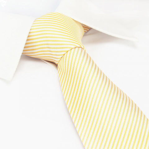 Pastel Orange & White Thin Stripe Silk Tie
