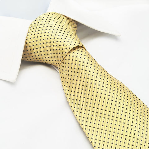 Yellow Neat Pin Dot Silk Tie