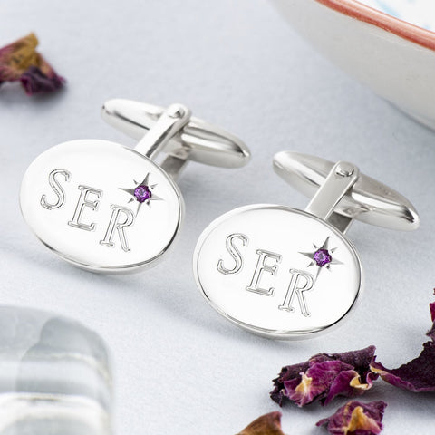 Sterling Silver Ruby Oval Cufflinks Engraved