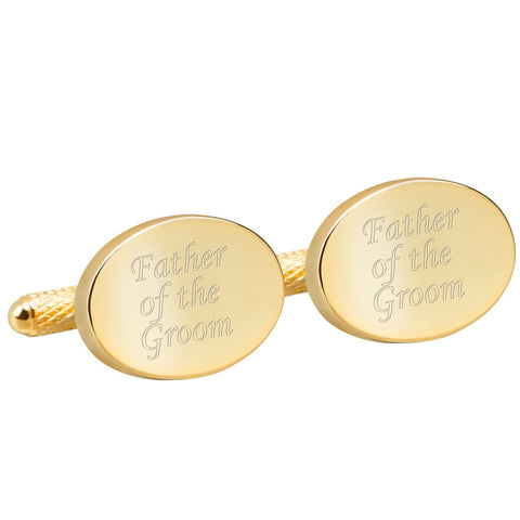 Engraved Gold Father of the Groom Cufflinks
