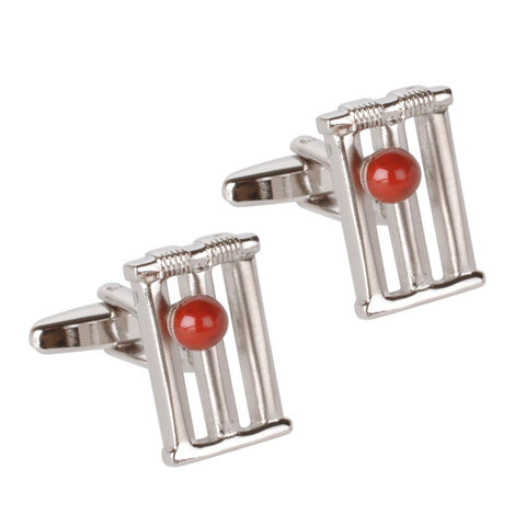 Cricket Stumps, and Ball Cufflinks
