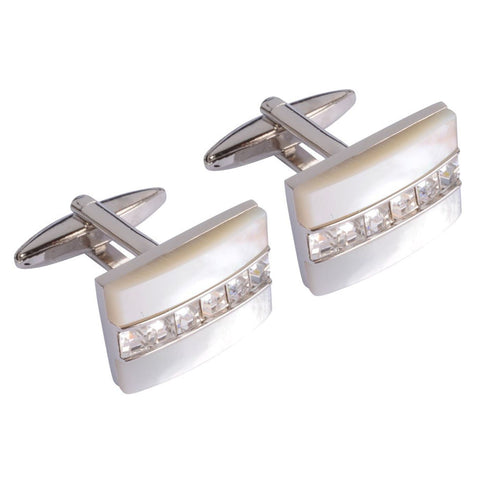 Clear Crystal Lined Cufflinks