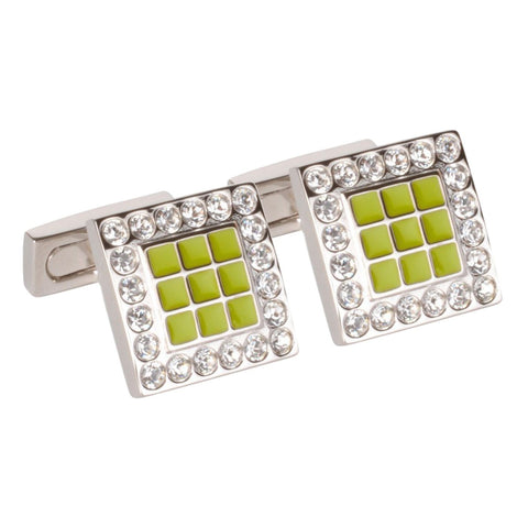 Green Enamel Squares With Clear Swarvoski Crystal Cufflinks