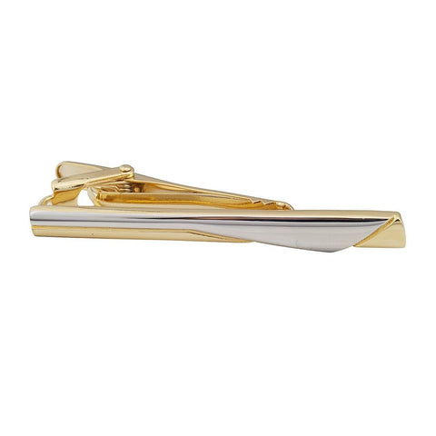 Gold Plated Tie Bar with Silver Curve