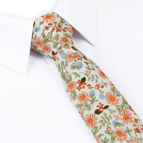 Off White Printed Floral Cotton Slim Tie