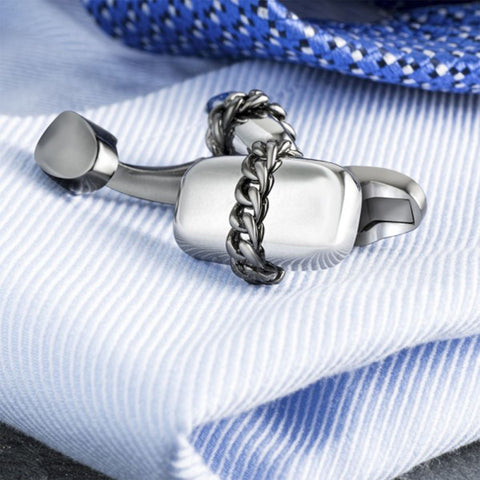 Silver and Grey Chain Design Cufflinks
