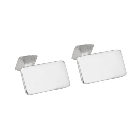 Sterling Silver Plain Rectangle Cufflinks