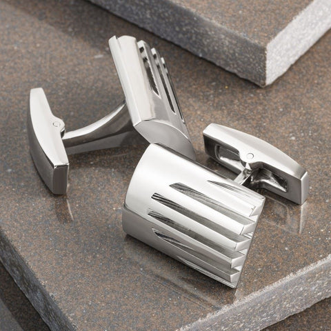 Executive Lined Rectangle Cufflinks