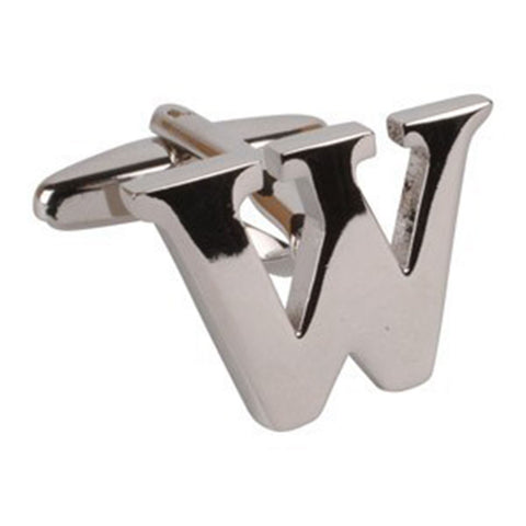 Letter W Initial Cufflink (Sold Individually)