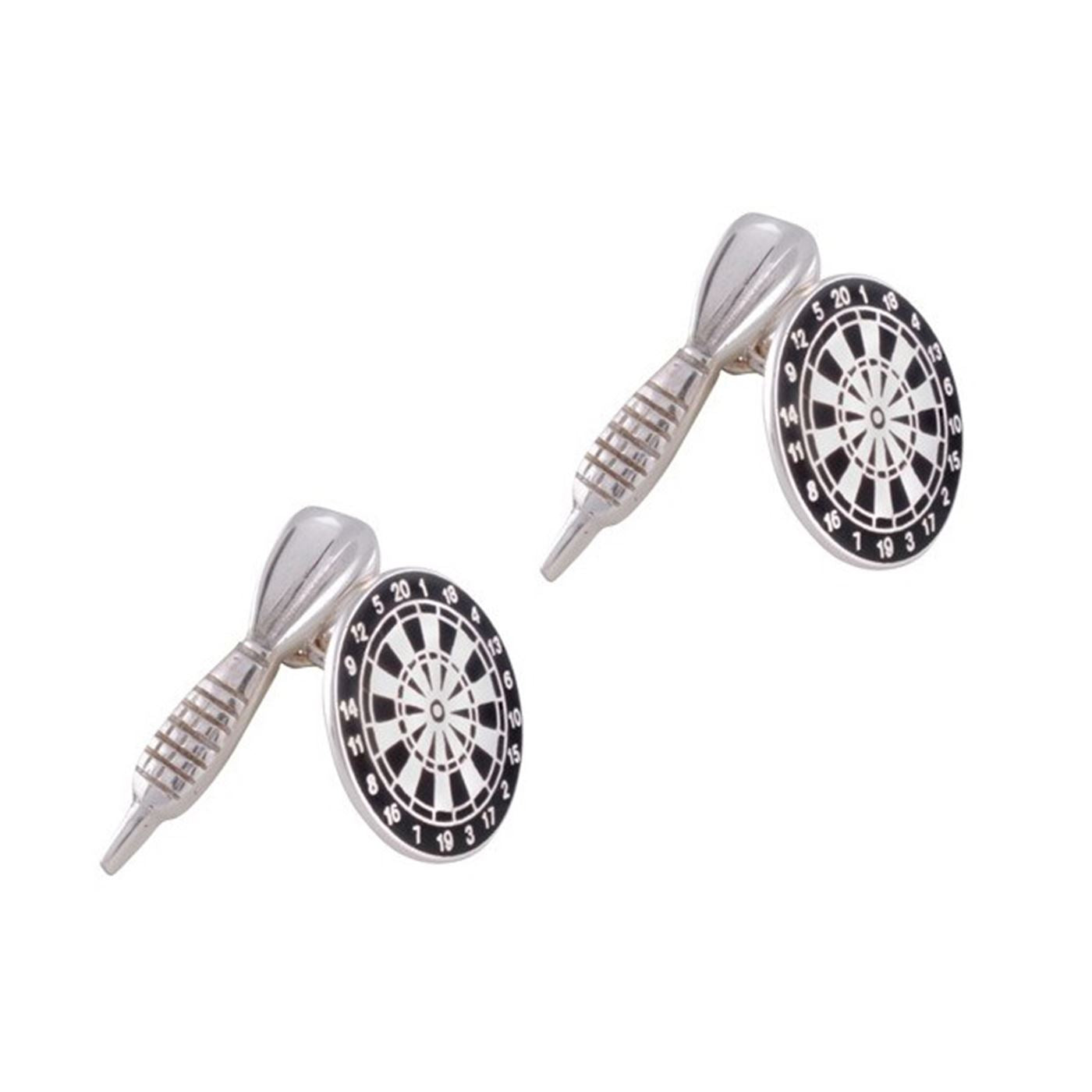 fe0ac232dd35 Sterling Silver Black Enamel Dart and Dartboard Cufflinks. Touch to zoom