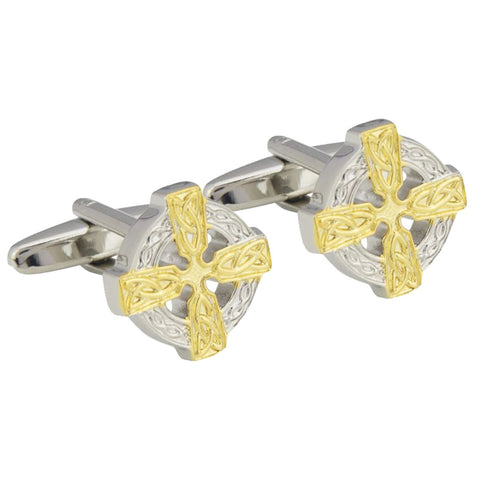 Celtic Round Cross Cufflinks