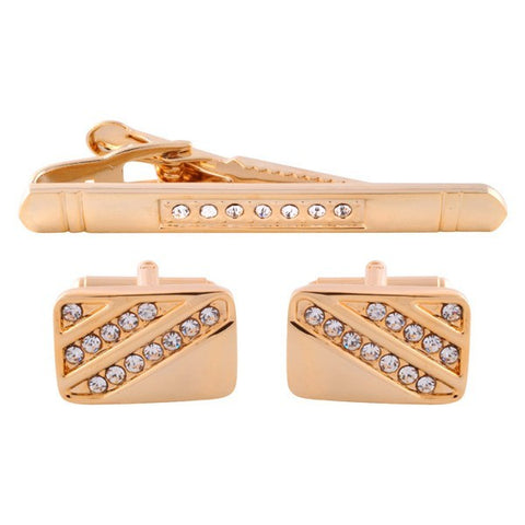 Crystal Gold Cufflinks & Tie Bar Set