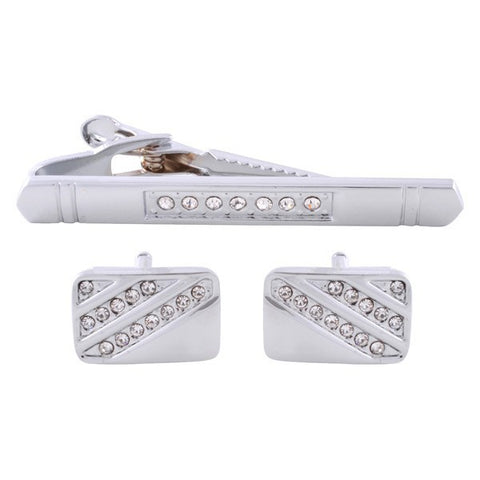 Crystal Silver Cufflinks & Tie Bar Set