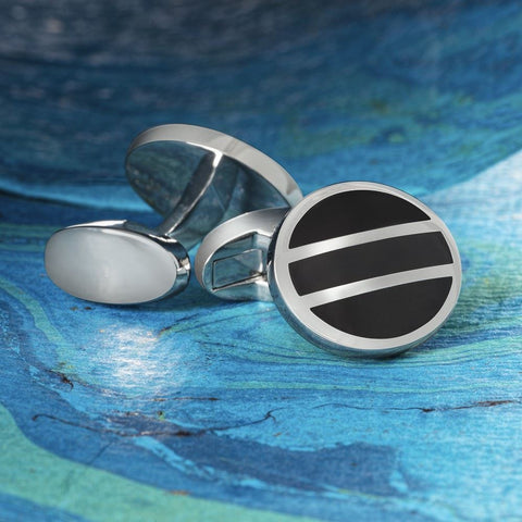 Black & Silver Oval Cufflinks