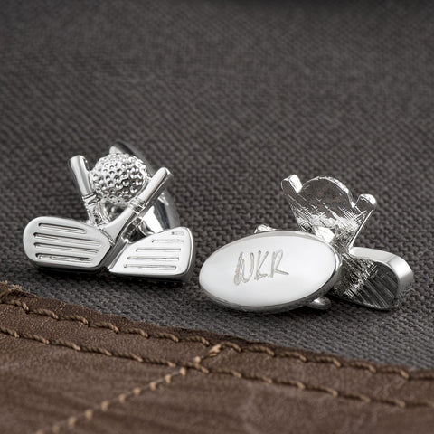Silver Plated Golf Chain Cufflinks (Engraved)