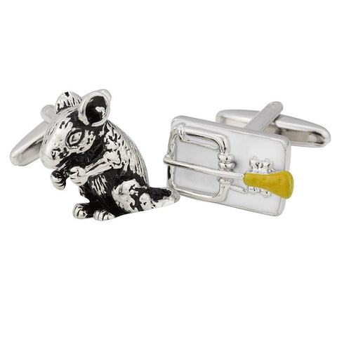 Mouse & Cheese Baited Trap Cufflinks