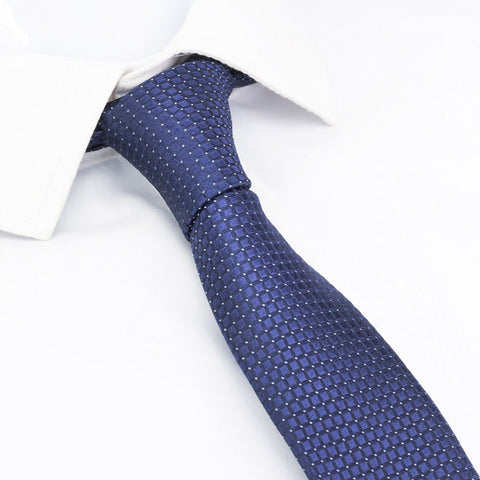 Blue Micro Square Woven Slim Silk Tie