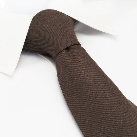 Plain Brown Wool Mix Tie