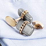 Grey and Rose Gold Chain Design Cufflinks