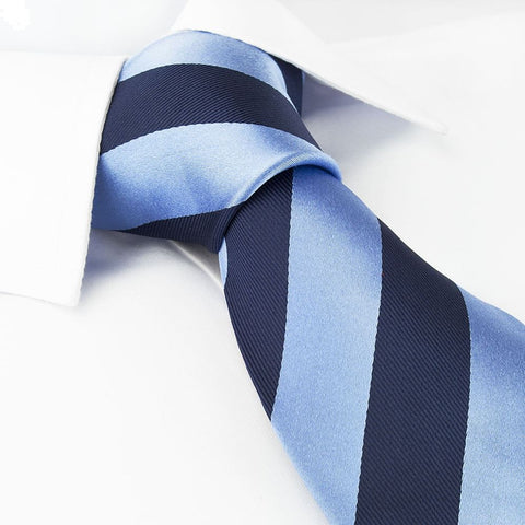 Navy & Blue Striped Silk Tie