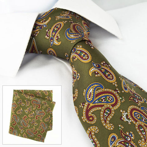Country Green Silk Tie & Handkerchief Set Large Paisley Design