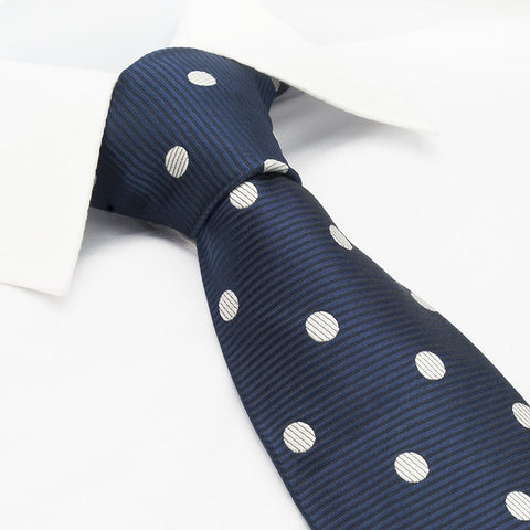 Navy Silk Tie With White Polka Dots