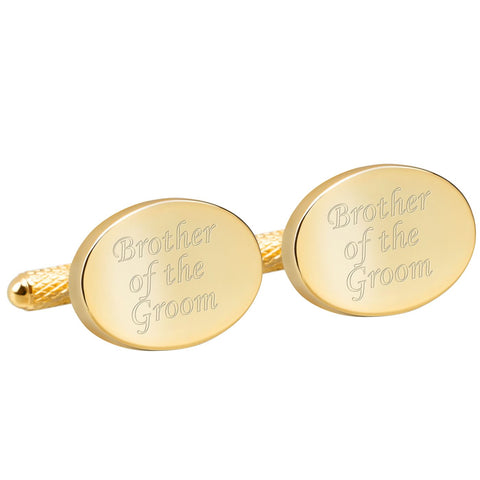 Engraved Gold Brother of the Groom Cufflinks