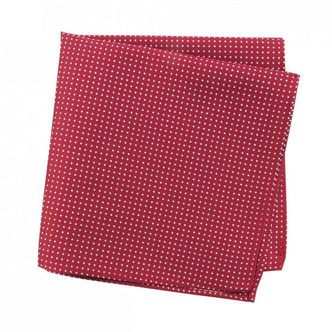 Red Neat Pin Dot Silk Handkerchief