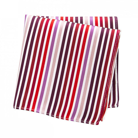 Red, Pink and Purple Striped Woven Silk Handkerchief