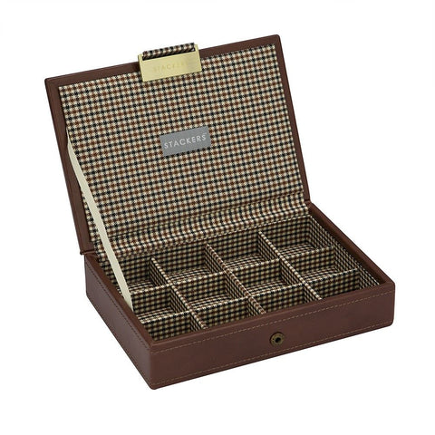 12 Cufflink Piece Lidded Stacker With Check Lining