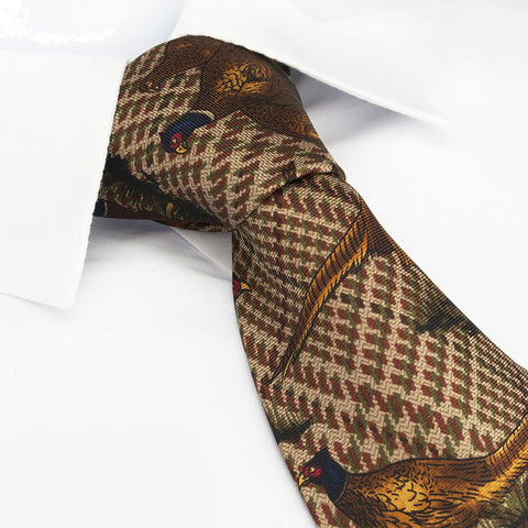 Tweed Pheasants Silk Tie