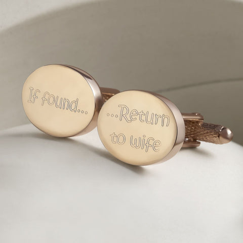 If Found Return To Wife Rose Gold Cufflinks