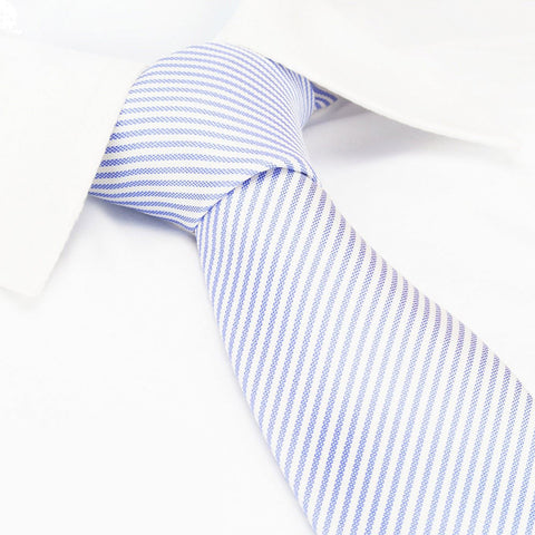 Pastel Lilac & White Thin Stripe Silk Tie