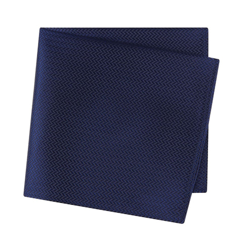 Navy Herringbone Silk Handkerchief