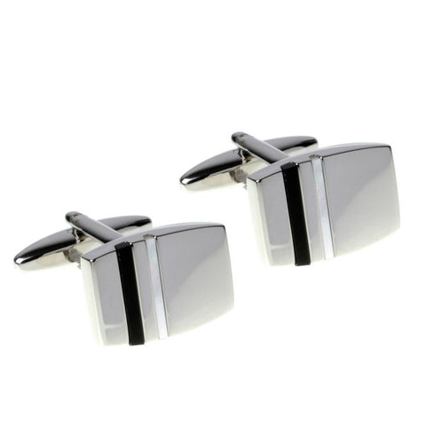 Onyx and Mother of Pearl Striped Cufflinks
