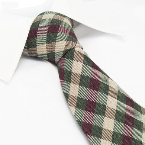 Red & Green Tartan Wool Mix Tie