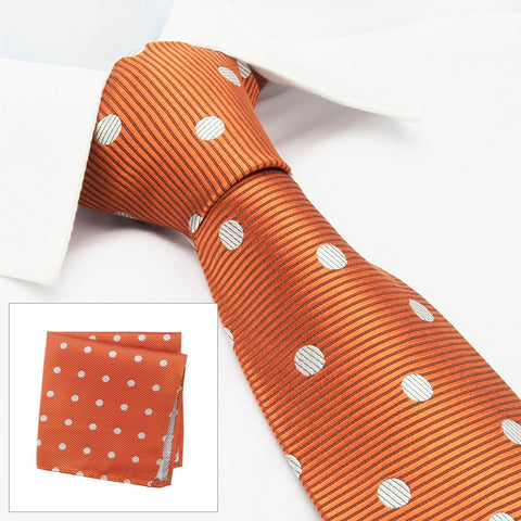 Burnt Orange Silk Tie & Handkerchief Set With White Polka Dots