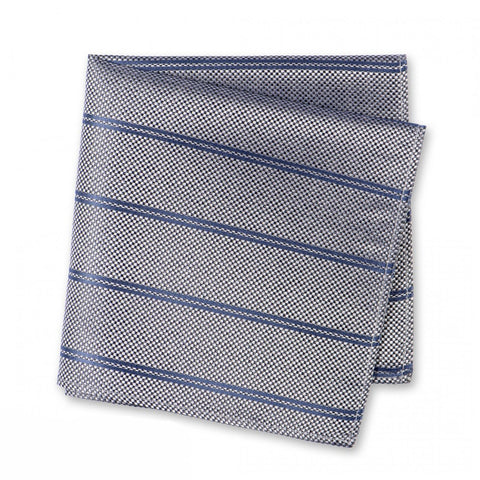 Grey Classic Textured Silk Club Stripe Handkerchief