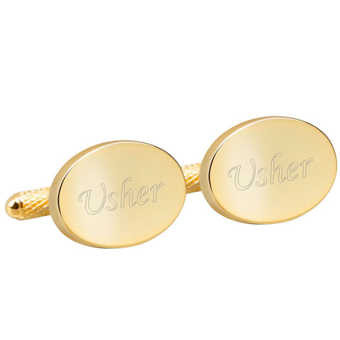 Engraved Gold Usher Cufflinks
