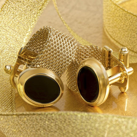Black Oval Gold Band Cufflinks