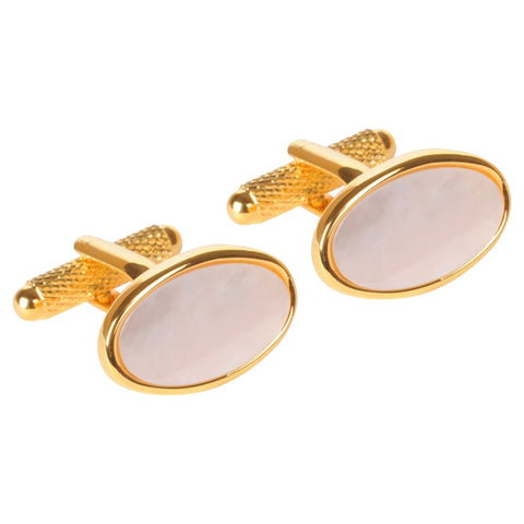 Gold Plated Mother of Pearl Oval Cufflinks
