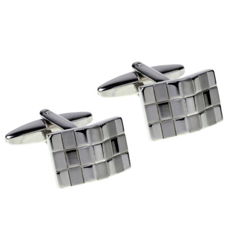 Brushed and Polished Silver Wave Cufflinks