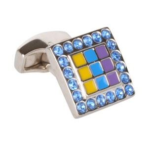 Enamel Painted With Blue Swarvoski Crystals Cufflinks