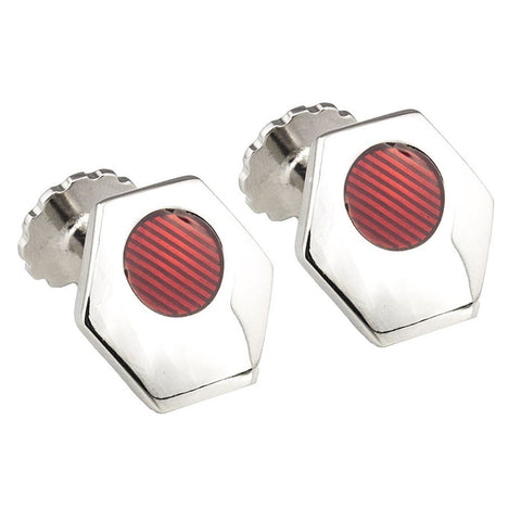 Silver Hexagon Red Cufflinks