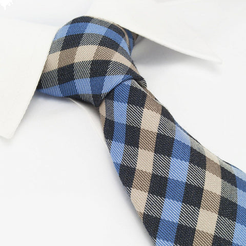Blue & Beige Tartan Wool Mix Tie