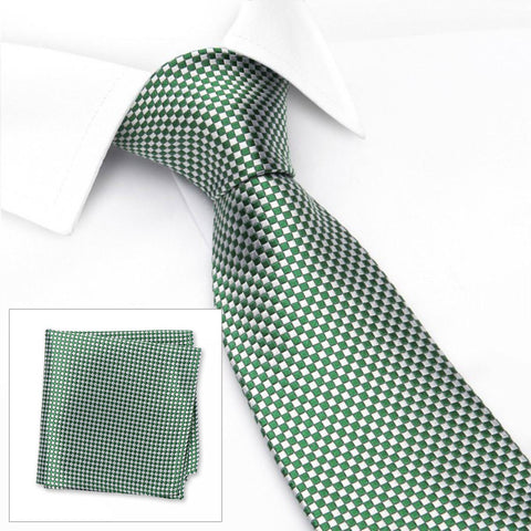 Green & Silver Micro Square Woven Silk Tie & Handkerchief Set