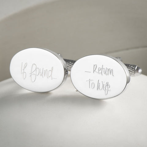 If Found Return To Wife Silver Plated Cufflinks