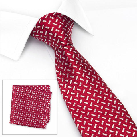 Red & White Textured Dash Silk Tie & Handkerchief Set