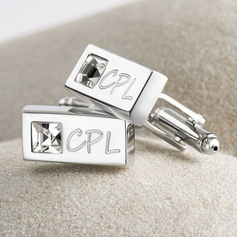 Clear Crystal Rectangle Cufflinks (Engraved)
