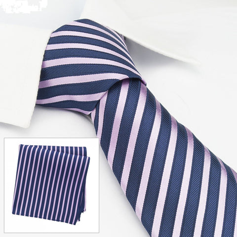 Navy & Pink Striped Woven Silk Tie & Handkerchief Set